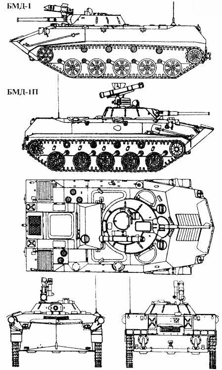 Схема БМД-1 (три вида)